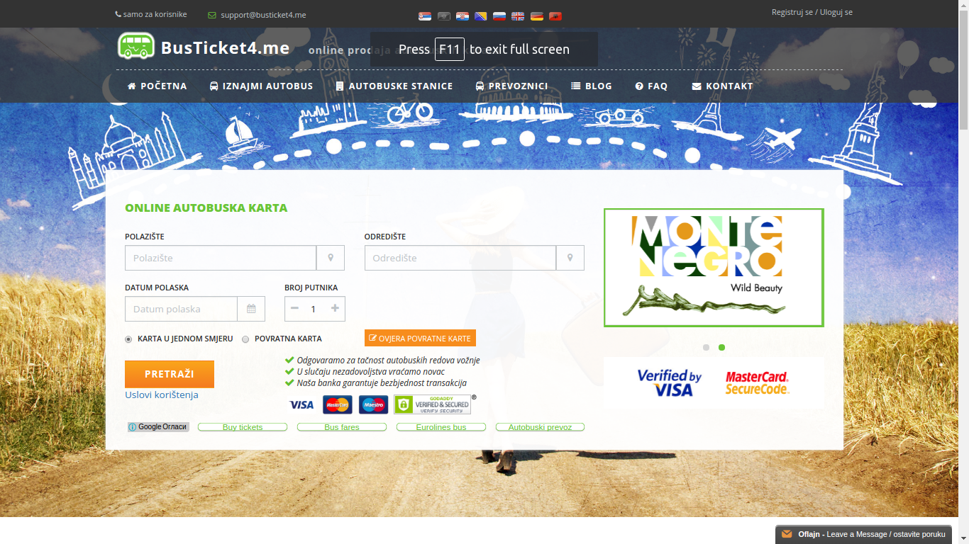 www.busticket4.me - informacioni sistem za prodaju autobuskih karata on-line